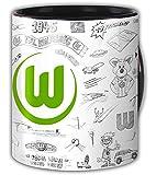 VfL Wolfsburg stylische Tasse Kaffeebecher Henkeltasse Retro Design Zeichnungen Keramik Füllmenge 0,3 l Fanartikel
