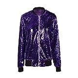 HPKLSDER Herbst Frauen Pailletten Mantel Grün Bomberjacke Langarm Reißverschluss Streetwear Tunika Lose Lässige Grundlegende Dame Outwear, Lila XL