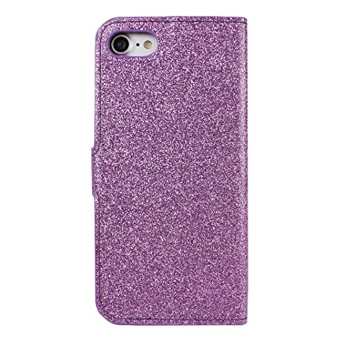 Schutzhülle iPhone 7 Leder, Book Style Hülle für iPhone 7 Bling Glitzer, iPhone 7 Bumper Hülle, [Voll frontal Dreieck Diamant Design] Moon mood® Glitter Case Skin Tasche Ledertasche für Apple iPhone 7 A Lila
