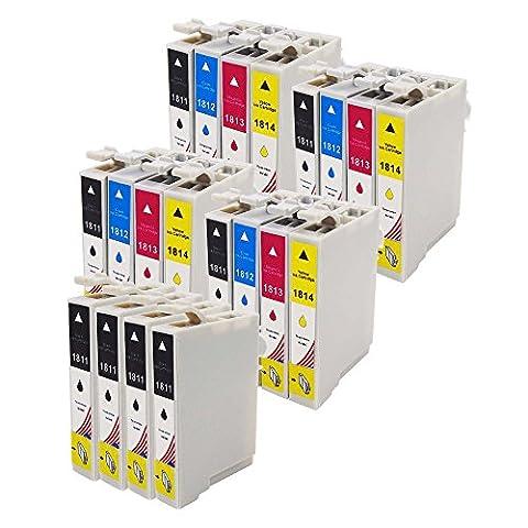 Toner Kingdom 20 Pack (4 Sets + 4 Noir) Compatibles Epson 18XL T1811 T1812 T1813 T1814 T1816 Cartouches d'encre pour une utilisation dans Epson XP30 XP102 XP202 XP205 XP212 XP215 XP302 XP305 XP312 XP315 XP402 XP405 XP405WH XP415 XP412 XP422 XP425