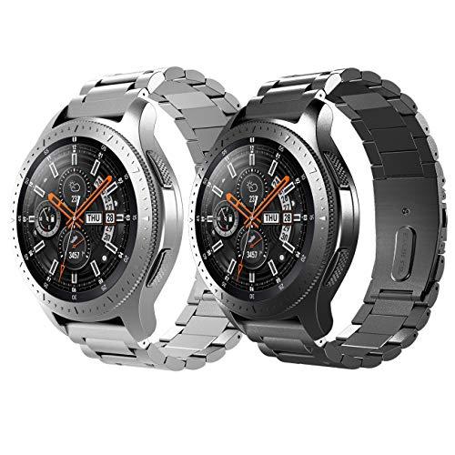 TiMOVO Armband Geeignet für Galaxy Watch 46mm/Gear S3 Classic/Gear S3 Frontier, [2-Pack] Edelstahl Uhrenarmband Ersatzarmband Handgelenk Strap Band mit Werkzeug - Schwarz + Silber