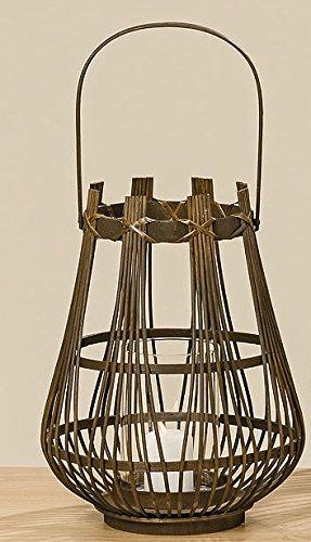 Bambus Windlicht Laterne braun 34cm