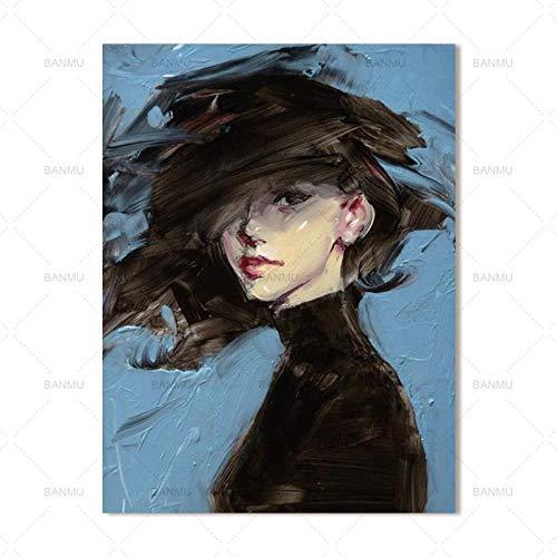 Leinwanddruck,Wall Art Bild Modernes Aquarell Schwarze Kleidung Mädchen Leinwand Gemälde Nordic Abstrakte Kunst Abbildung Bild Ausdrucken Für Wohnzimmer Home Decor Kein Frame, 70 X 100 Cm Ohne