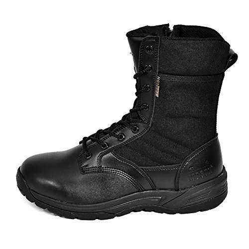 IODSON Mens' Ultra-light combat Boots Black Military Tactical Work Boots Black 9.5...