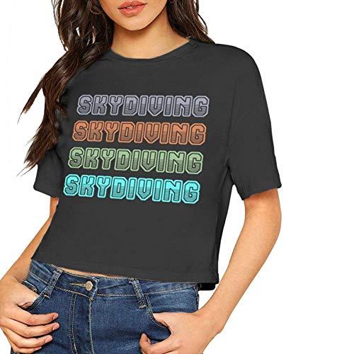 Damenmode Kurzarm T Shirts 1970er Fallschirmspringen Gedruckt Bluse Tops T Nabel (groß, schwarz)