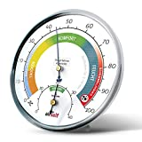 airself Thermohygrometer analog für innen - Raumthermometer und Feuchtigkeitsmesser in einem - Raumklimakontrolle mit farbigen Komfortzonen
