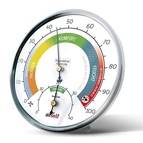 airself Thermohygrometer analog für innen - Raumthermometer und...