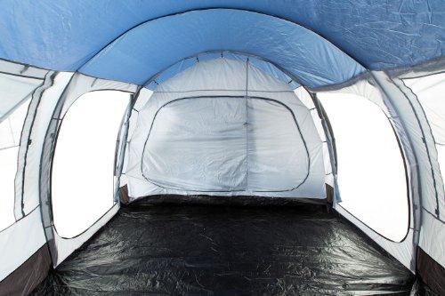CampFeuer Campingzelt für 4 Personen | Großes Familienzelt mit 3 Eingängen und 5.000 mm Wassersäule | Tunnelzelt | blau/grau | Gruppenzelt | So macht Camping Spaß! - 4