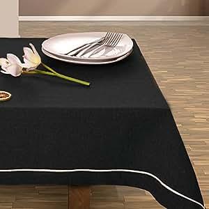 140x240 schwarz Tischdecke Tischtuch Tischläufer elegant praktisch pflegeleicht Leinoptik Lein Optik mit Borte Modern Lein