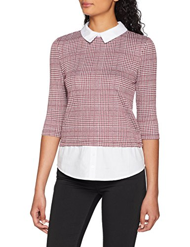ONLY Damen onlSELMA 3/4 Shirt TOP JRS Bluse, Mehrfarbig (Cloud Dancer AOP:Price of Wales Check (Port Royal) + Bright White Collar), 36 (Herstellergröße: S) -