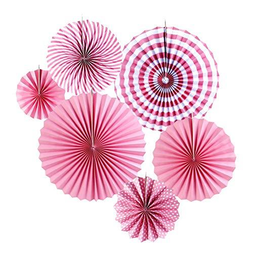 HEEFEN 6 Stück Papierfächer Dekoration Rosa Geburtstag Papier Fan Blume Set 40 cm 30cm 20 cm für Hochzeit Parteien Haupt Dekorationen (Pink)
