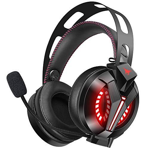 JINSE Gaming Headset, Stereo-Kopfhörer für Laptop, Tablet, Ps4, Pc, Xbox One Controller, Noise Canceling Kopfhörer mit Mikrofon, LED-Leuchten, Bass Surround