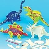 Bastelset - Dinosaurier aus Holz zum Zusammenstecken für Kinder zum Bemalen - toll als Spielzeug - 5 Stück