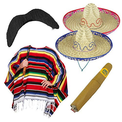 Zwei Mann Kostüm Dress Fancy - P Mexican Fancy Dress Set - Woven Poncho + Straw Sombrero + Cigar + Stick on Moustache (Full Set)