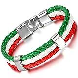 Cupimatch - Bracelet rigide pour homme, aux couleurs du drapeau italien - En cuir tressé - 21,1cm