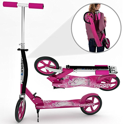 Kinetic Sports Scooter Cityroller Tretroller Klappbar 205 mm XXL Räder bis 100kg Pink