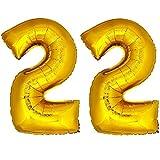 DekoRex® Folienballon Zahlenballon Heliumballon Luftballon Geburtstag Deko 120cm Zahl Gold 22