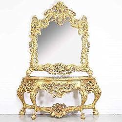 Consola de espejo barroco de lujo Casa Padrino con tapa de mármol Oro 180 x H270 cm - Muebles de hotel - consola con espejo