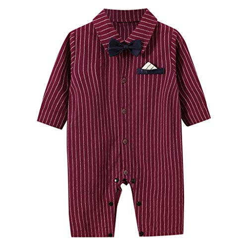 Baby Boy Gentleman Strampler Hochzeit TTLOVE Babybekleidung Junge Herbst Langarm Gestreiften Overall Bodysuit Mit Fliege Outfits KostüM,O-24 - Storm Verschiedenen Kostüm