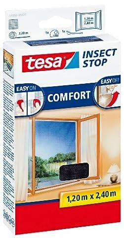 tesa Fliegengitter für bodentiefe Fenster, beste tesa Qualität, anthrazit, durchsichtig, 1,2m x