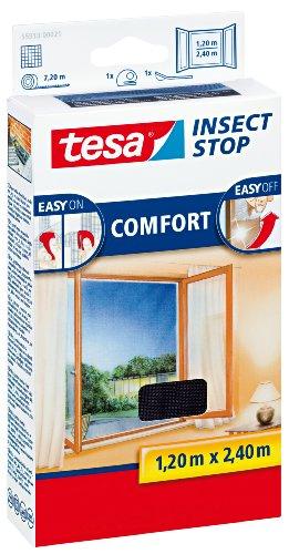 Preisvergleich Produktbild tesa Insect Stop COMFORT Fliegengitter für bodentiefe Fenster - Insektenschutz selbstklebend - Fliegen Netz ohne Bohren - Anthrazit, 120 cm x 240 cm