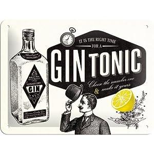 Nostalgic-Art 26168 Open Bar - Gin Tonic, Blechschild 15x20 cm