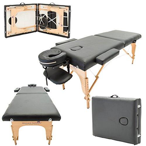 Massage Imperial® - tragbare Profi-Massageliege Chalfont - leicht 14 Kg - 3 Zonen - Schwarz -