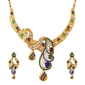 Touchstone indiano Bollywood bianco rosso verde blu etnico kundan Polki pavone ispirato esotico Jaipur Minakari/smalto da sposa collana di gioielli di design per le donne in oro antico tono