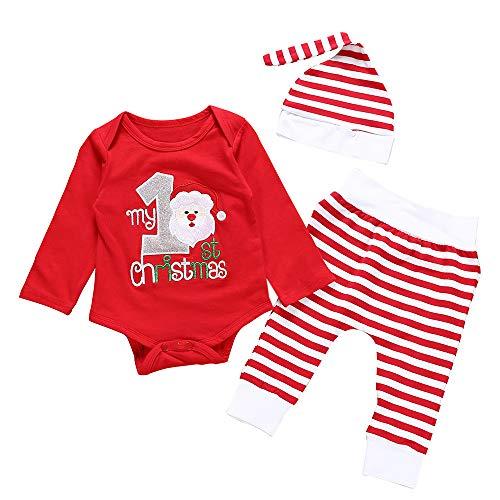 My 1st Christmas!3 Pezzi Baby Romper + Pantaloni + Cappello,Zolimx Bambino Bambina Ragazze Ragazzi Natale Santa Pagliaccetto A Righe Pantaloni Cappello Abiti Set,Regalo Di Compleanno, Regalo Di Nat