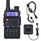eSynic UV-5R Walkie Talkie Dual Band VHF/UHF with LED Display 128 Memory Channel with flashing Alarm and Radio Function Supports VOX for Construction Site Hotel Outdoor Adventure with USB Charge Base