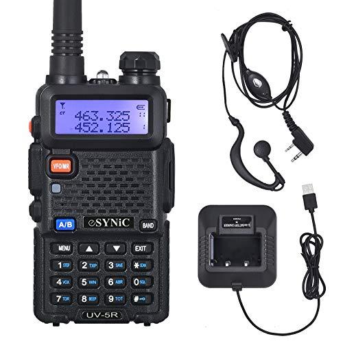 ESYNiC Walkie Talkie UV-5R Dual Band Baofeng 65 MHz~108MHz VHF/UHF Walky Talky LED FM 128 Canali Memoria Due Vie Radio Auricolaari Ricetrasmettitore FM Radio Ricevitore Supporta VOX con USB Cavo Alimentazione