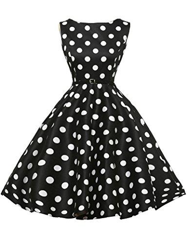 50s dress rockabilly damen große größe cocktailkleider knielang baumwolle polka dots rock kleid 3X CL6086-8 (Baumwolle Polka Rock Dots)