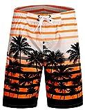 APTRO® Herren Slim Fit Freizeit Shorts Casual Mode Urlaub Strand-Shorts Sommer Jun 1525 DE M Orange