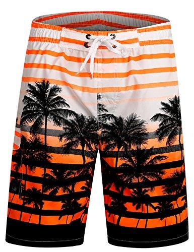 APTRO Herren Slim Fit Freizeit Shorts Casual Mode Urlaub Strand-Shorts Sommer Kokosnuss Palmen Mit Innenslip, Orange, M