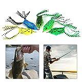Cinco colores seleccionados de goma suave rana gancho señuelo bajo pesca cebo Tackle