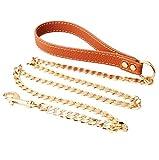 Dog Leash 125 cm * 12 mm Leder Reinem Kupfer Gold Hund Kette, Hundeleine, Pet Supplies,2