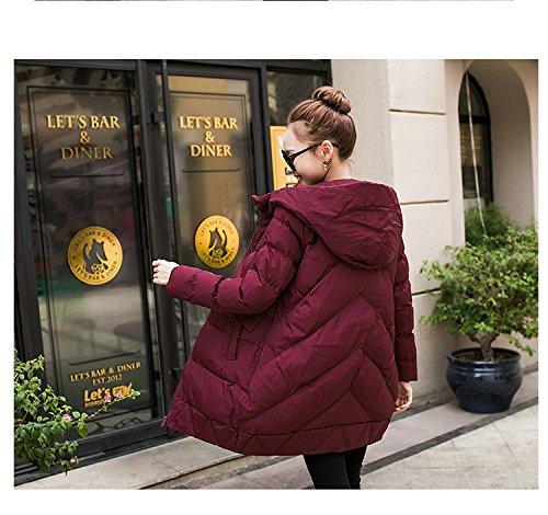WTUS femmes Manteau Long Vêtements En Coton Plus épais Rouge