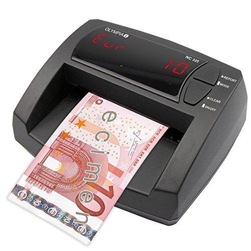OLYMPIA NC 325 Automatisches Geldscheinprüfgerät – Updatebar – LCD-Display – Integrierter Geldzähler | Mobiler Geldscheinprüfer, Banknotenprüfer für Euro-Noten (Falschgeld-scanner)