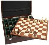 Philos 2504 - Schachset Exklusiv mit Schachbrett und Schachfiguren in Figurenbox mit Einzelfächern