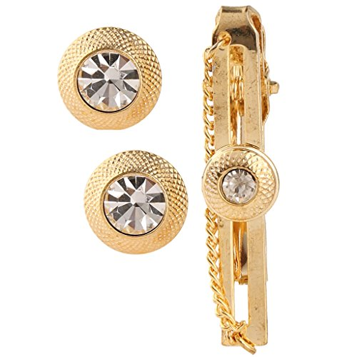 Tripin round golden cufflink set with diamonds crystal and tie pin for...