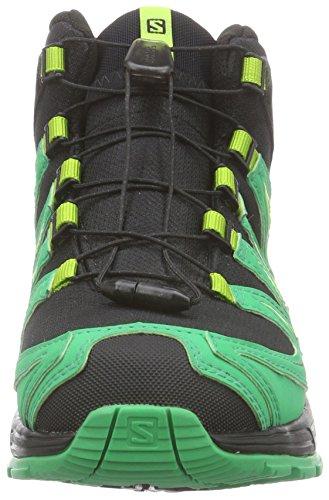 Salomon Unisex-Kinder Xa Pro 3d Mid Trekking-& Wanderstiefel Grün (Black/Real Green/Granny Green)