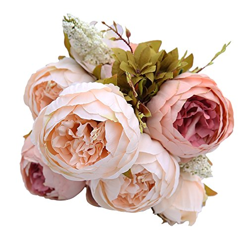 Japace® Artificial Peony Flowers Bouquet / Fake Peony Flower Arrangement for Wedding Party Home Decoration - Champagne color