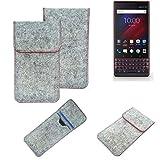 K-S-Trade® Filz Schutz Hülle Für -BlackBerry Key 2 LE Dual-SIM- Schutzhülle Filztasche Pouch Tasche Case Sleeve Handyhülle Filzhülle Hellgrau Roter Rand