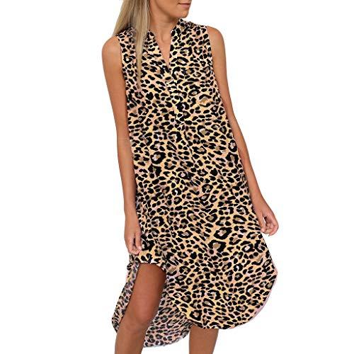 Floweworld Damen Leopardenmuster Shirt Kleider Mode ärmellose unregelmäßige Kleider mit Tasche lose midi Kleider