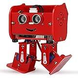 Elegoo Kit Robot Arduino Pingouin Dipode avec Tutoriel d'Assemblage Français STEM UNO Microcontrôleur Programme Ultrasonic Multifonction Jouets Radiocommandés Robots pour Enfants et Adultes DIY -Rouge