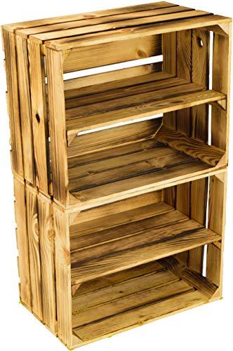 flambierte/geflammte Massive Obstkisten als Regal oder als Klassische Kiste ca 49 x 42 x 31 cm/Apfelkisten Weinkisten aus dem Alten Land (2 Stück geflammte mit Einlage) - Alte Holz-brenner