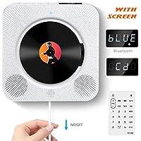 Portátil Bluetooth Reproductor de CD con Control Remoto Radio FM Altavoces de Alta fidelidad incorporados Conector de Auriculares Salida de Entrada USB/AUX incorporada, Blanco