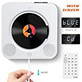 Lettore CD Montabile a parete Speaker Bluetooth portatile Home Audio con telecomando FM Radio Collegamento HIFI Speaker USB MP3 3,5 mm cuffie jack AUX Input/Output, Bianco