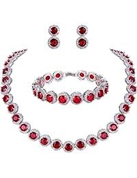 TENYE Women's Round Cut Cubic Zirconia Tennis Necklace Bracelet Earrings Set Silver-Tone