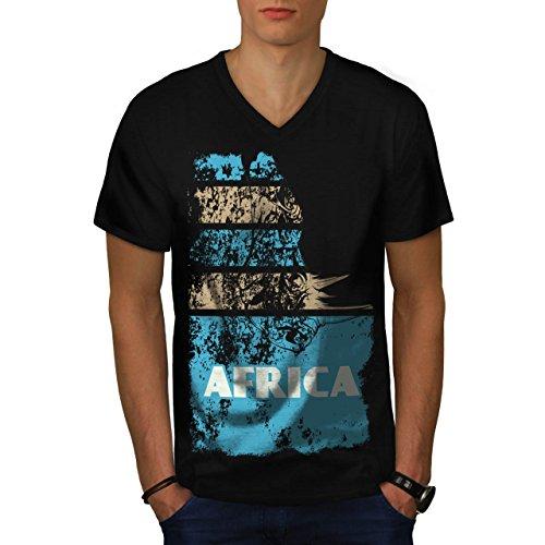 Dschungel Wüste Cool Afrika Land Leben Herren M V-Ausschnitt T-shirt | Wellcoda (Flagge T-shirt Süd-afrika)